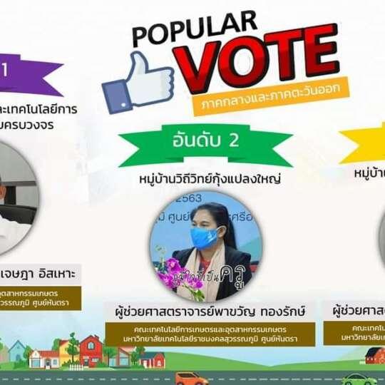 ขอแสดงความยินดีกับอาจารย์ที่ได้รับคะแนน Popular VOTE ภายใต้แพลตฟอร์มหมู่บ้านวิทยาศาสตร์ (SCI)